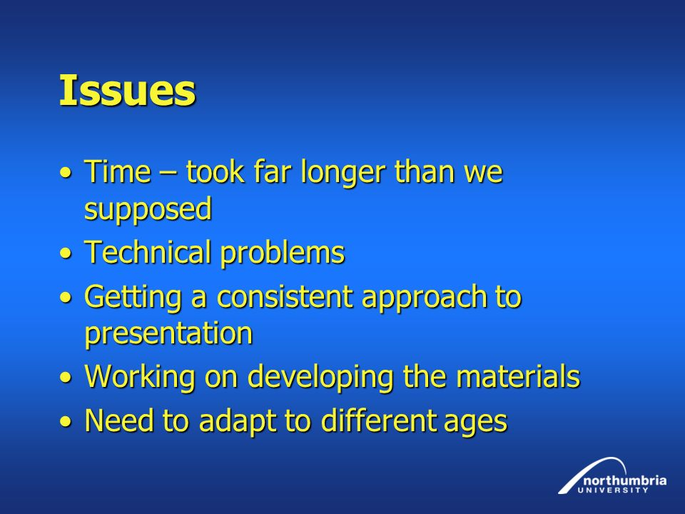 Issues Time – took far longer than we supposed Technical problems