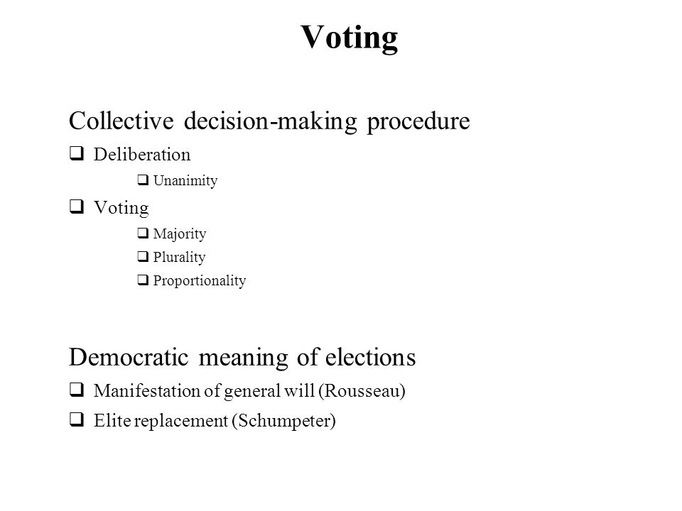 Voting Collective decision-making procedure