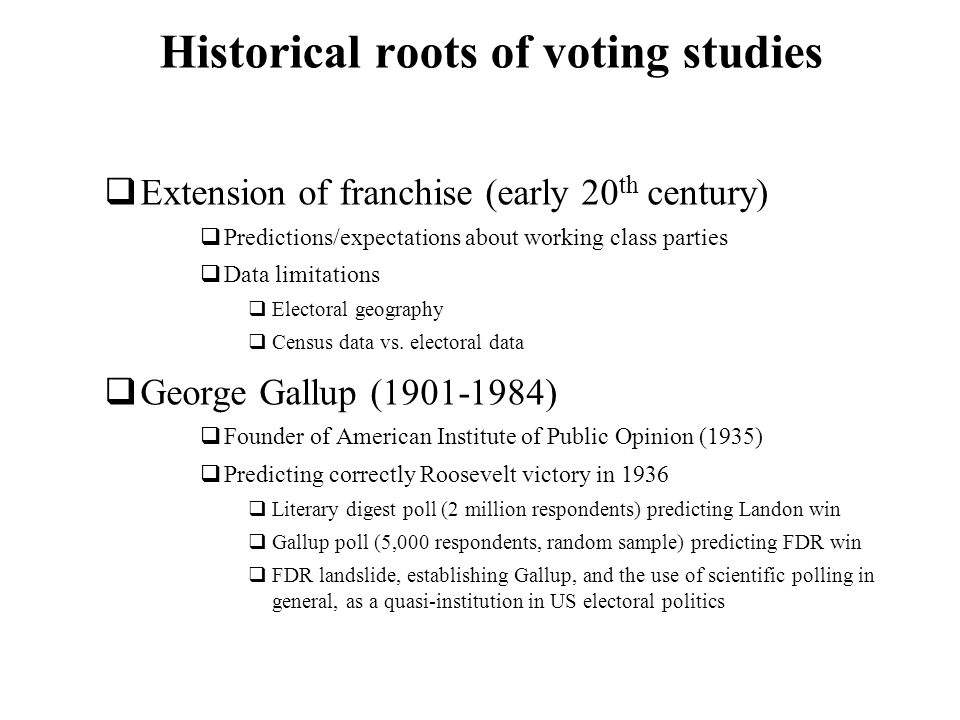 Historical roots of voting studies