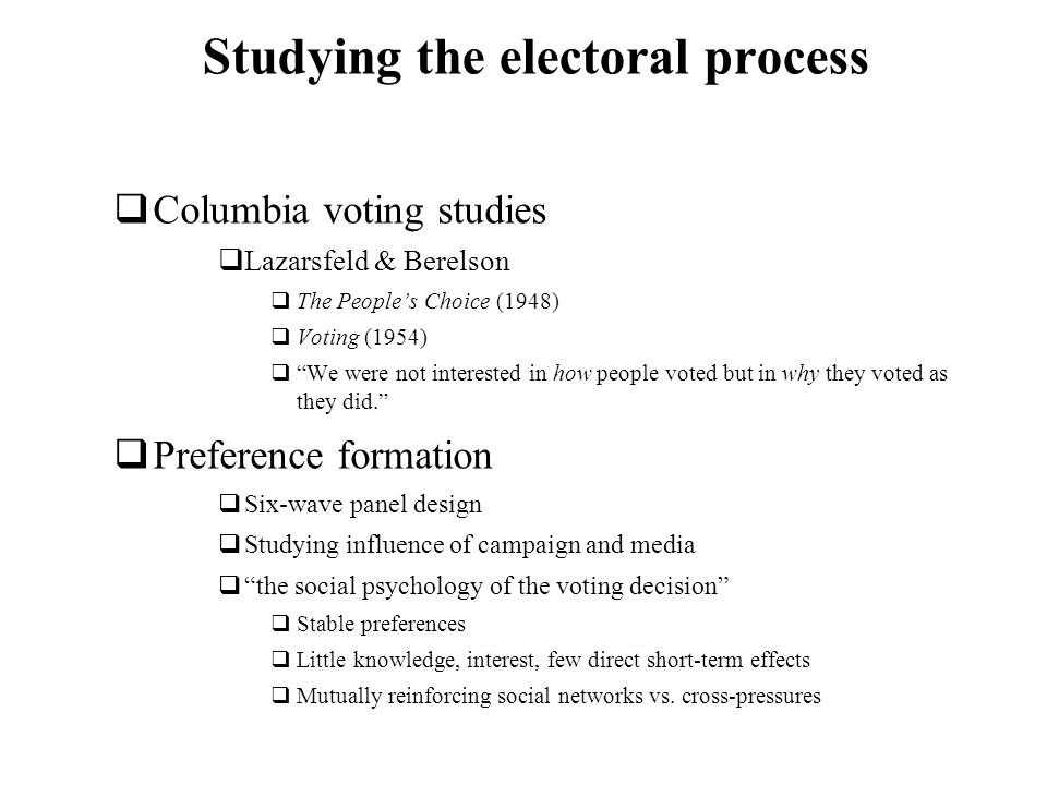 Studying the electoral process