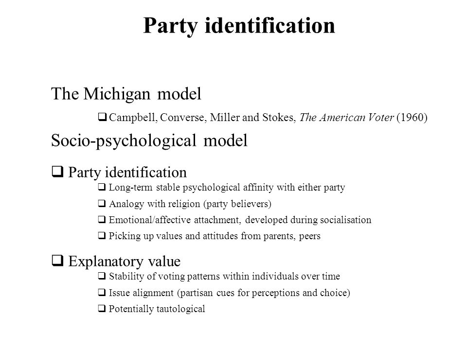 Party identification The Michigan model Socio-psychological model