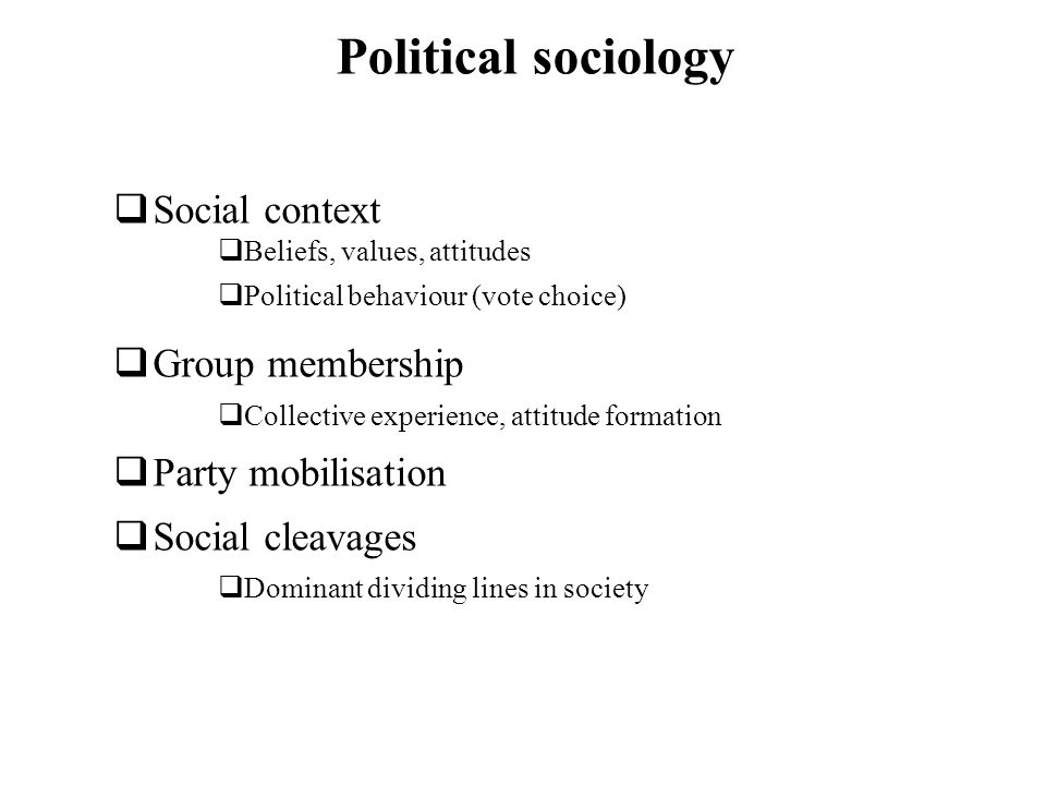Political sociology Social context Group membership Party mobilisation