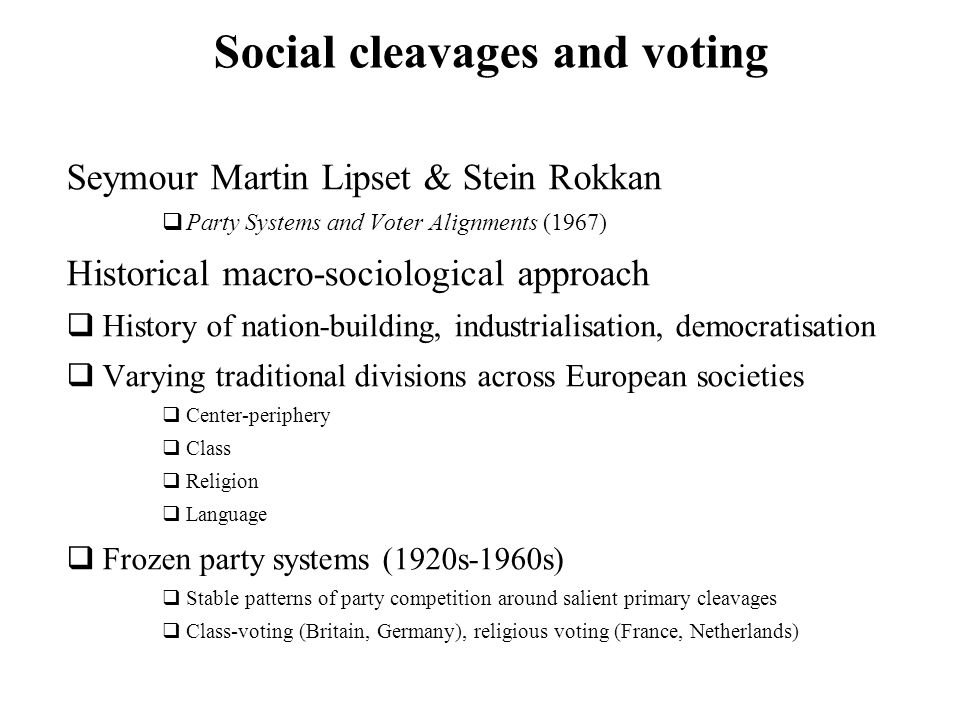 Social cleavages and voting