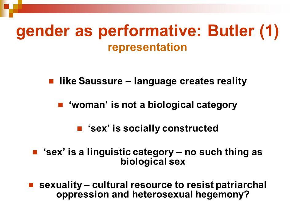 gender as performative: Butler (1) representation