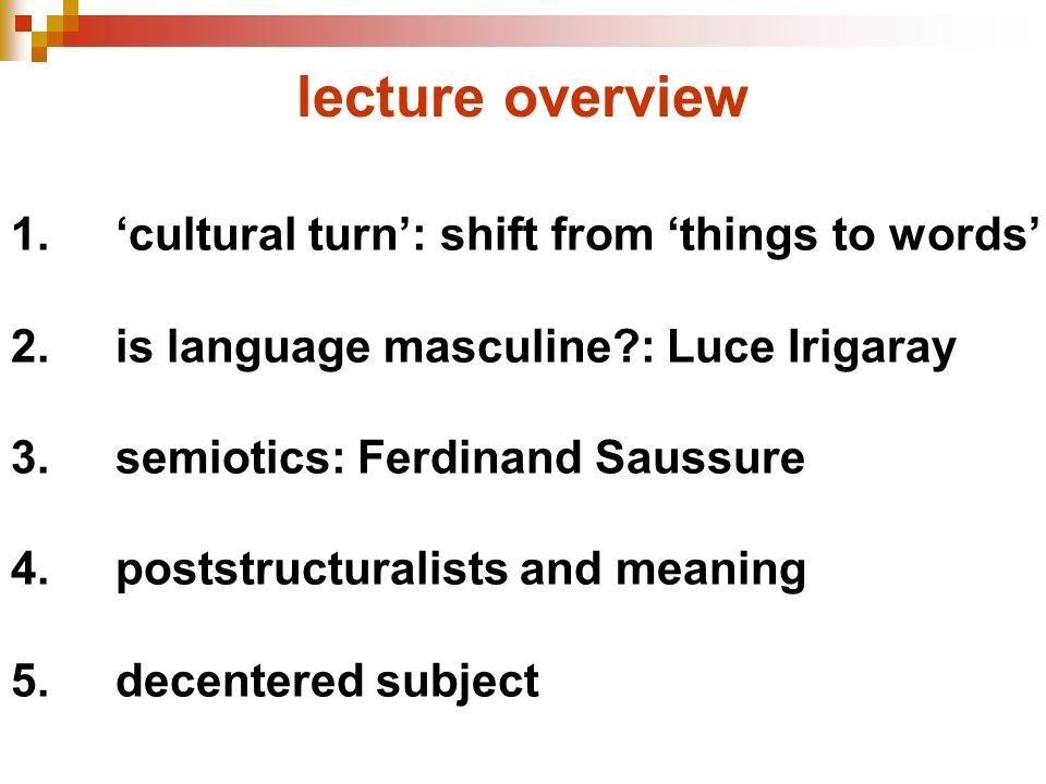 lecture overview 1. 'cultural turn': shift from 'things to words'
