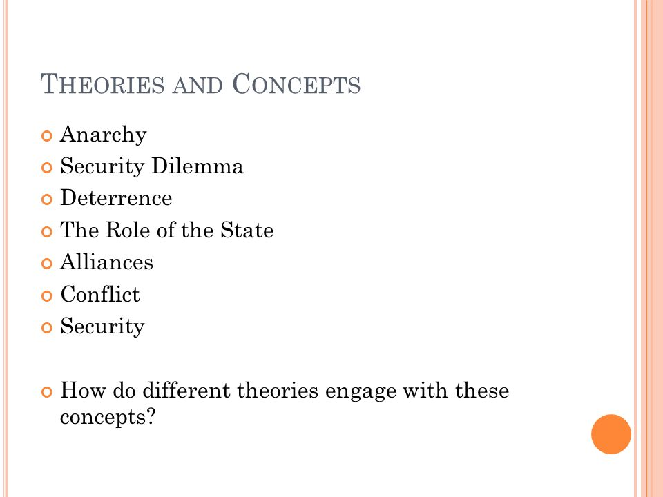 Theories and Concepts Anarchy Security Dilemma Deterrence