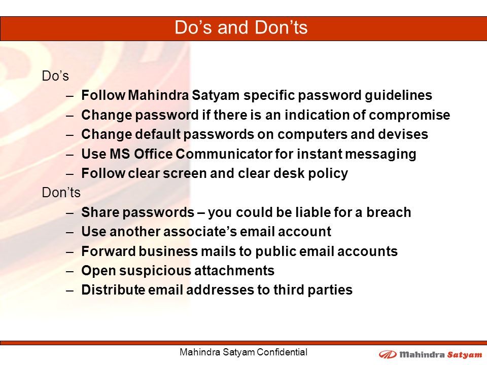 Mahindra Satyam Confidential Ppt Download