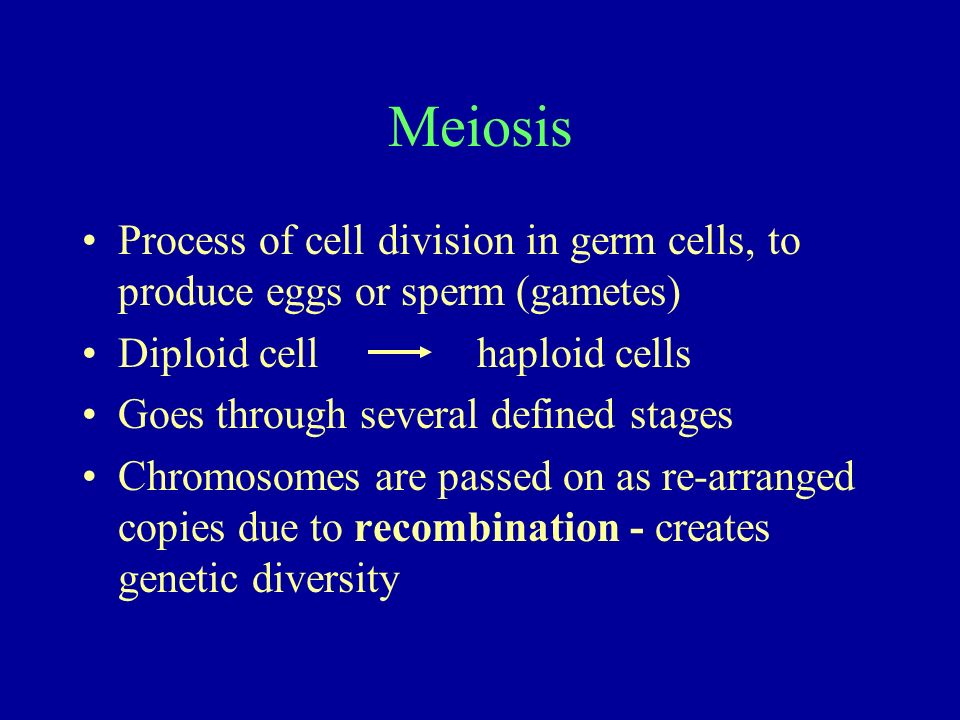 Meiosis Process of cell division in germ cells, to produce eggs or sperm (gametes) Diploid cell haploid cells.