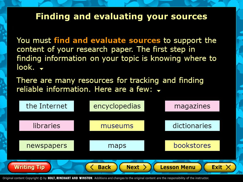 evaluating resources for research papers Any resource—print, human, or electronic—used to support your research inquiry  must be evaluated for its credibility and reliability in other words, you have to.