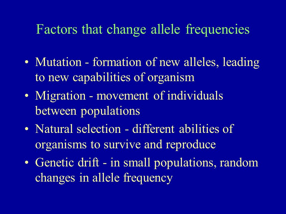 Factors that change allele frequencies