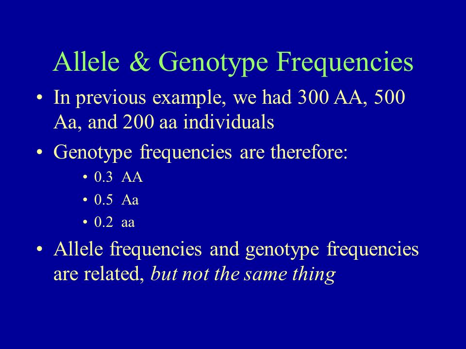 Allele & Genotype Frequencies