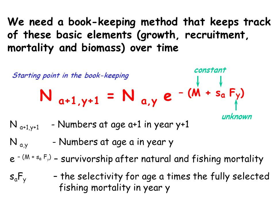 We need a book-keeping method that keeps track of these basic elements (growth, recruitment, mortality and biomass) over time