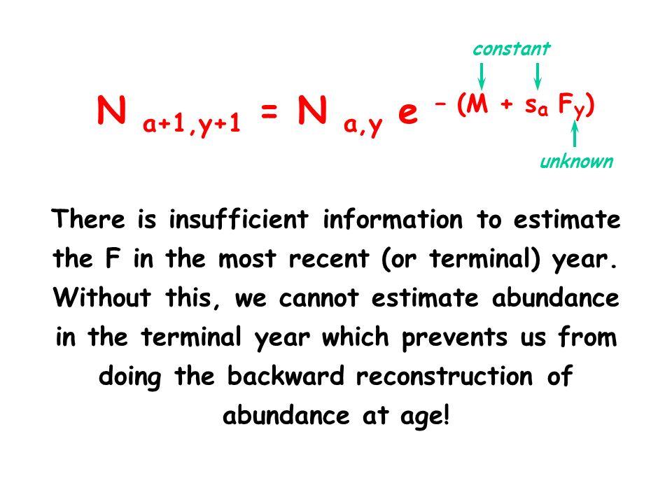 N a+1,y+1 = N a,y e – (M + sa Fy) constant. unknown.