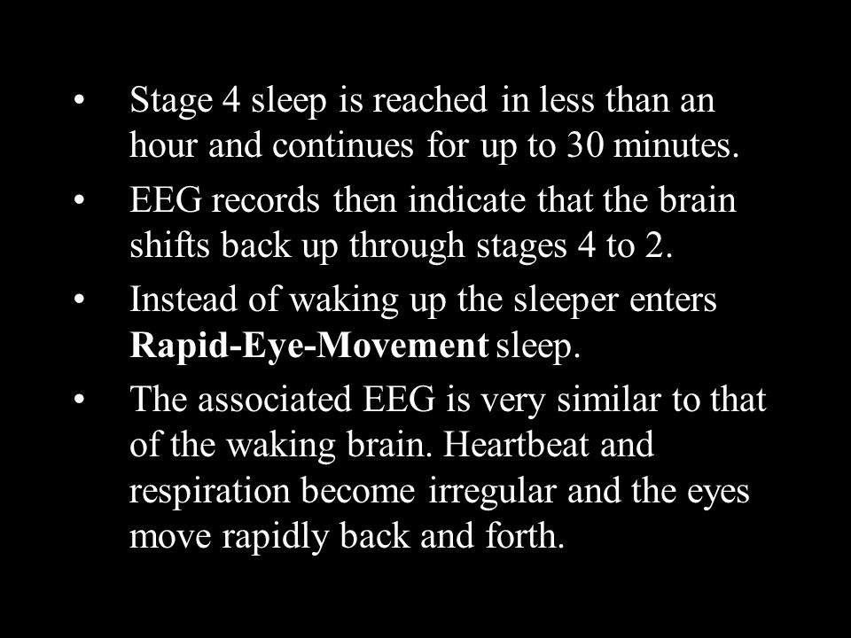 Stage 4 sleep is reached in less than an hour and continues for up to 30 minutes.