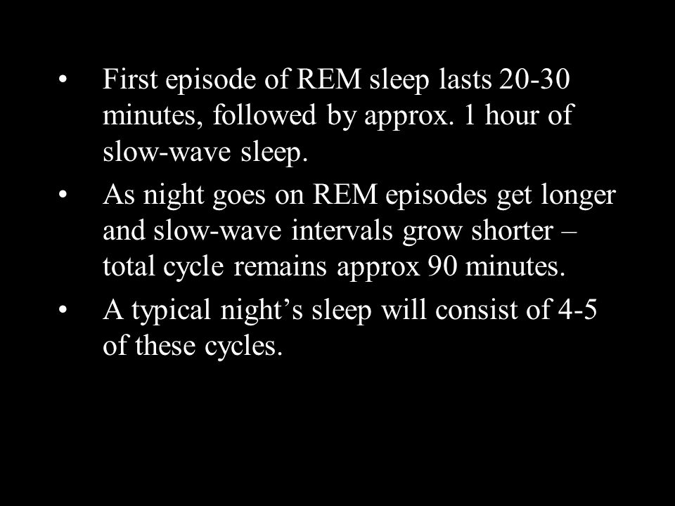 First episode of REM sleep lasts 20-30 minutes, followed by approx