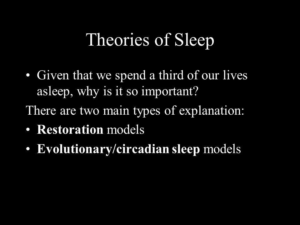 Theories of Sleep Given that we spend a third of our lives asleep, why is it so important There are two main types of explanation: