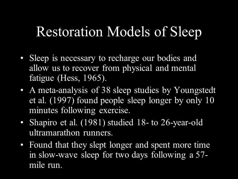 Restoration Models of Sleep