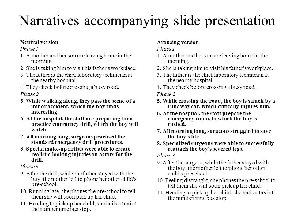 Narratives accompanying slide presentation