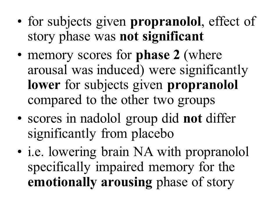 for subjects given propranolol, effect of story phase was not significant