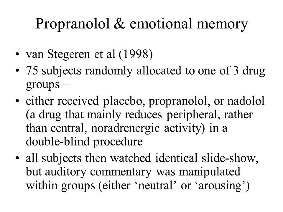 Propranolol & emotional memory