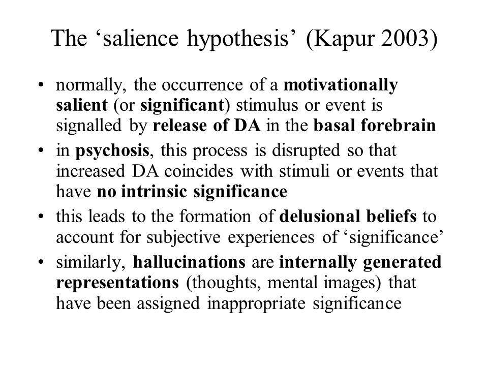 The 'salience hypothesis' (Kapur 2003)