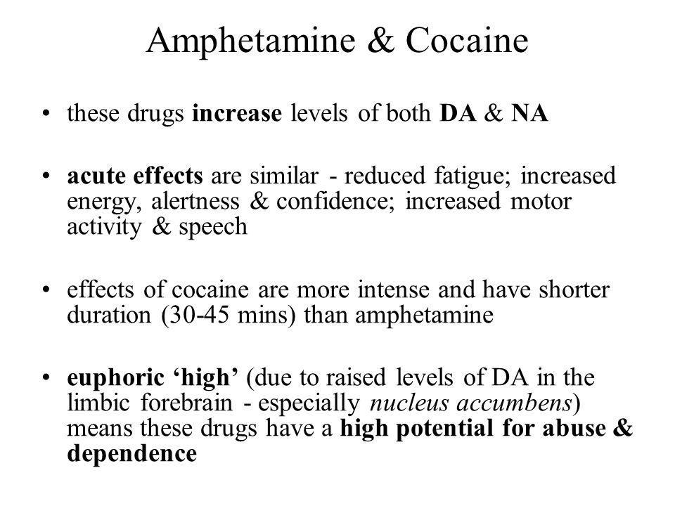 Amphetamine & Cocaine these drugs increase levels of both DA & NA