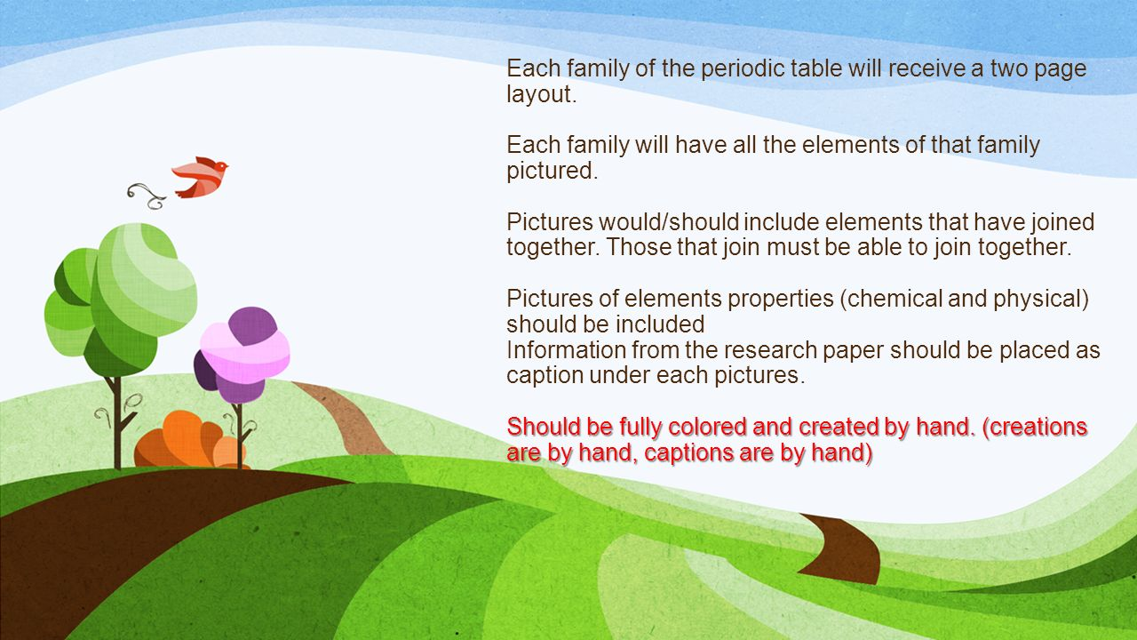 Matter properties and changes ppt video online download each family of the periodic table will receive a two page layout gamestrikefo Gallery