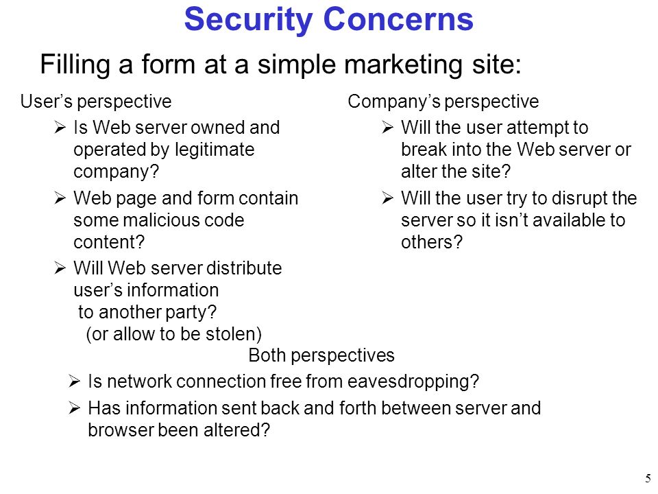 Security Concerns Filling a form at a simple marketing site: