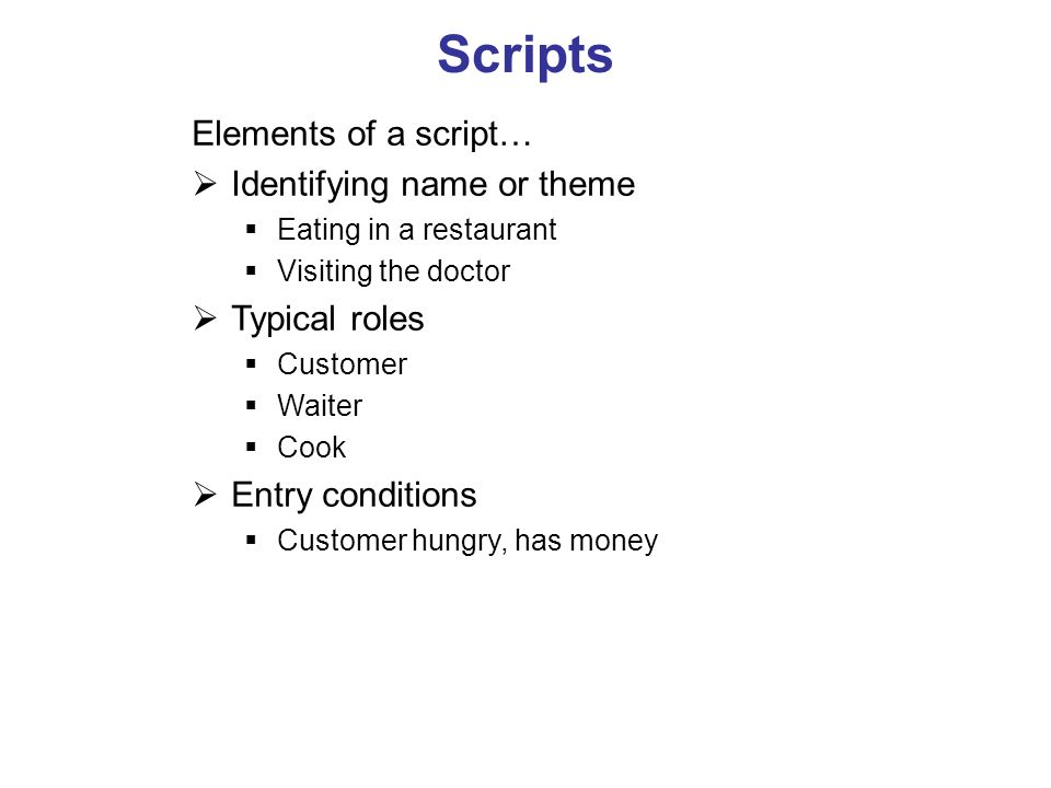 Scripts Elements of a script… Identifying name or theme Typical roles