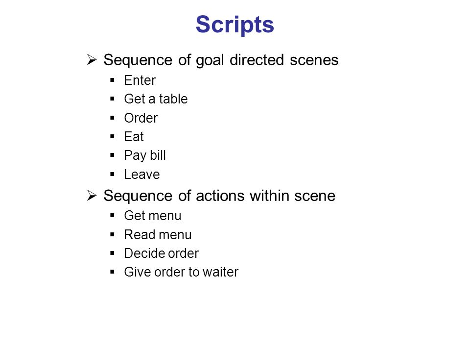 Scripts Sequence of goal directed scenes