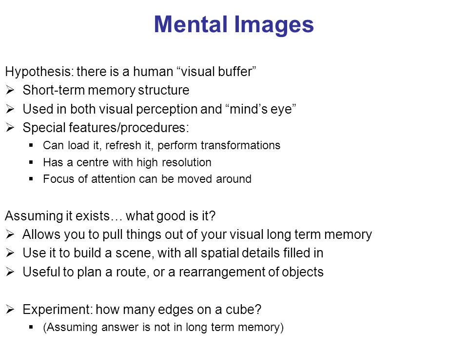 Mental Images Hypothesis: there is a human visual buffer