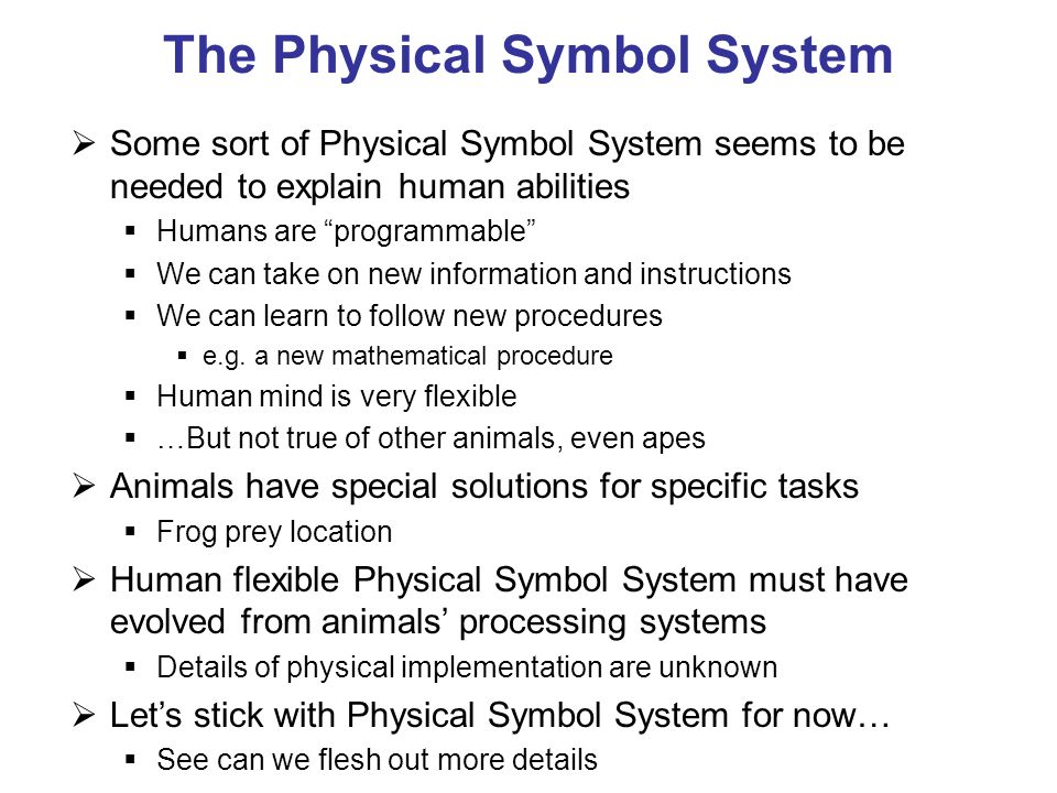 The Physical Symbol System