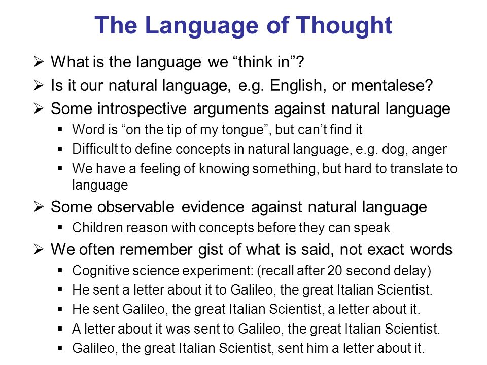 The Language of Thought