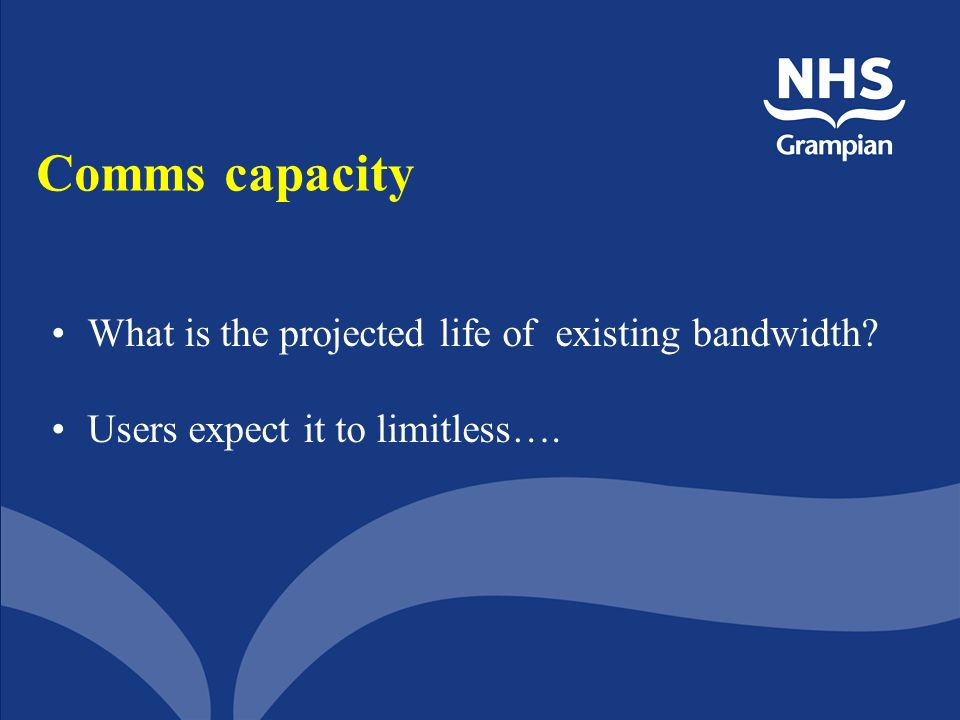 Comms capacity What is the projected life of existing bandwidth