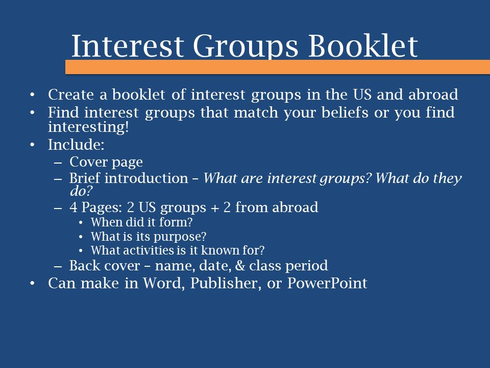 Interest Groups Booklet