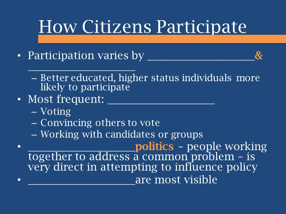 How Citizens Participate