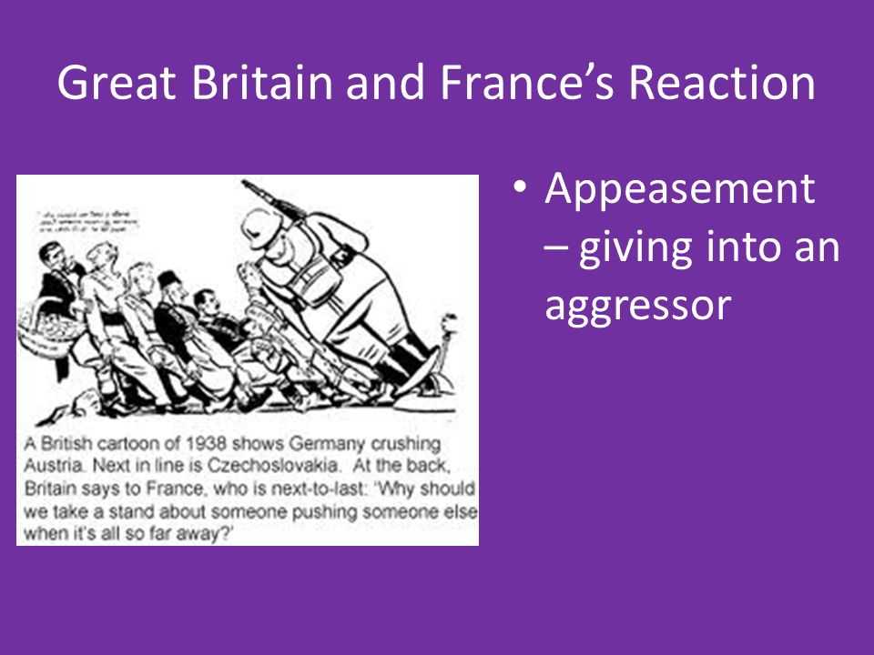 appeasement policy give example illustrate appeasement pol Best answer: actually appeasement was a characteristic of the 1930s hitler did not come to power until 1933 examples would be 1) when hitler reoccupied the rhineland, france did nothing 2) france and britain did not oppose his rebuilding the german military.