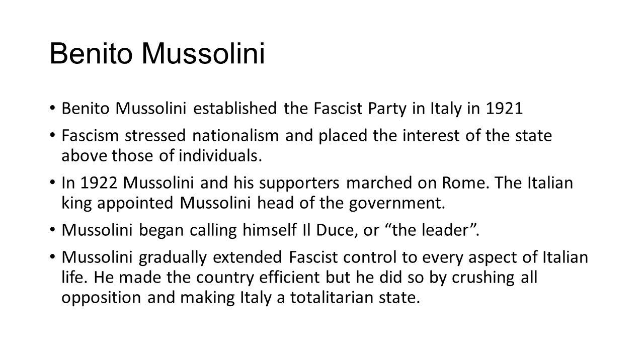 the role of the fascist party and the establishments in mussolinis dictatorship