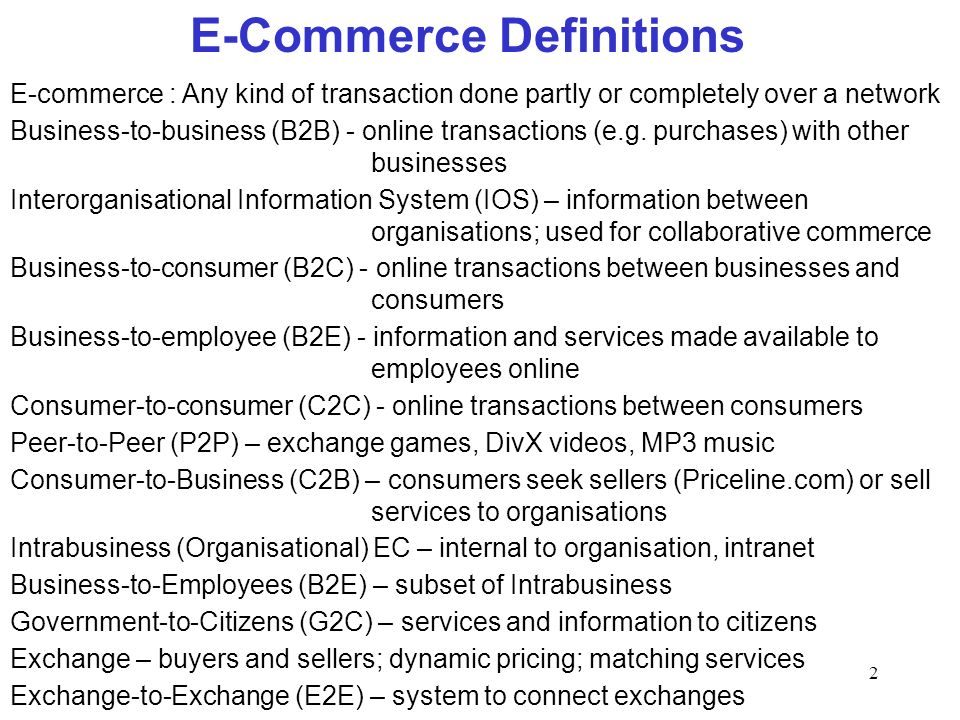 E-Commerce Definitions