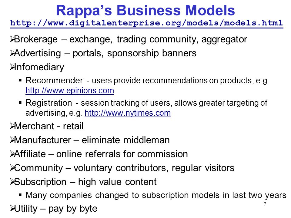 Rappa's Business Models