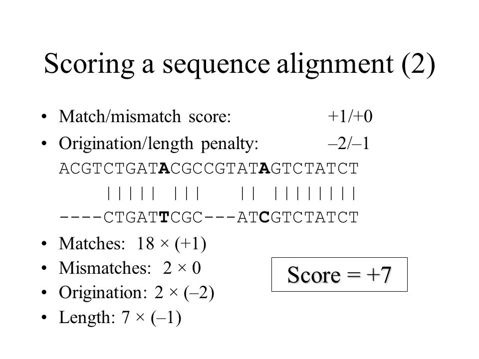 Scoring a sequence alignment (2)