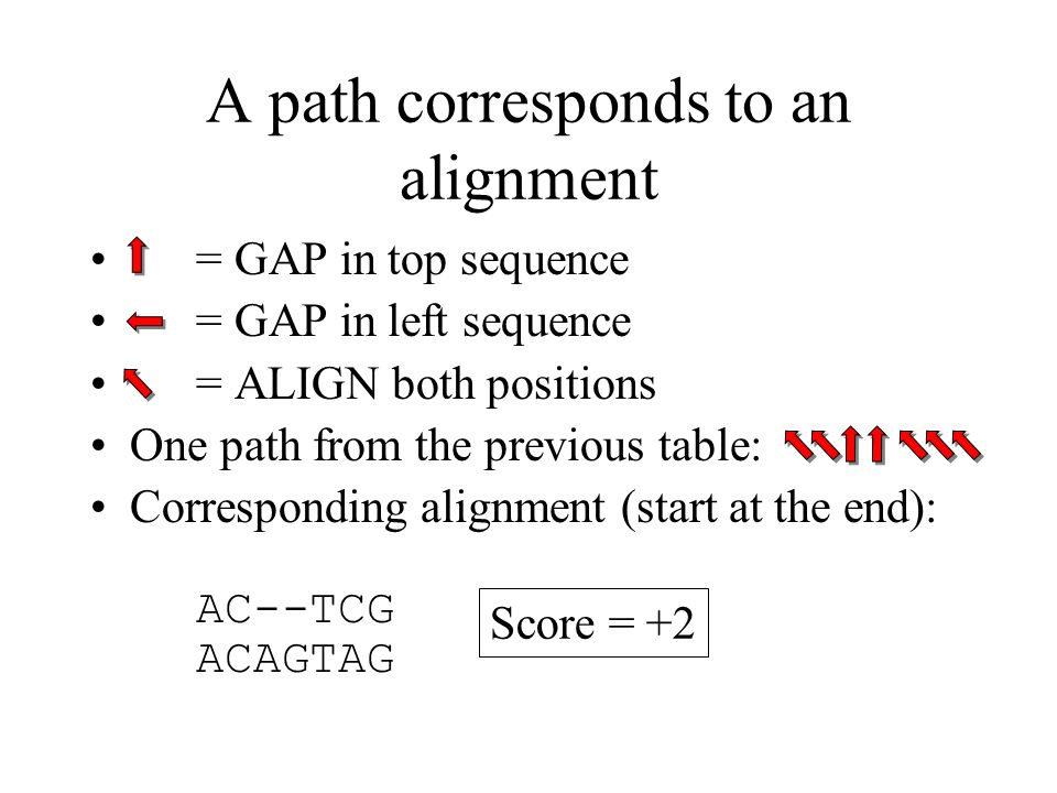 A path corresponds to an alignment