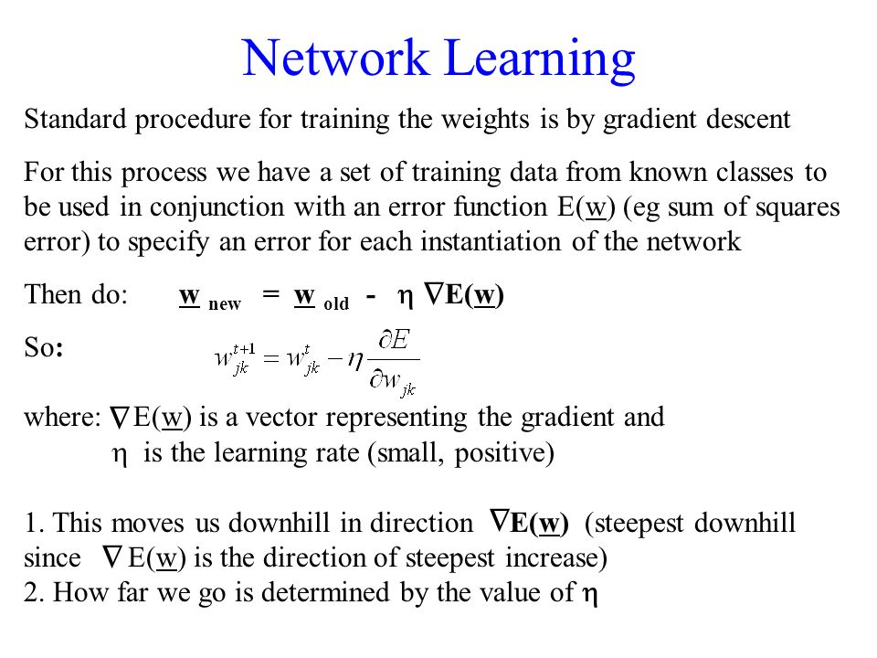 Network Learning Standard procedure for training the weights is by gradient descent.