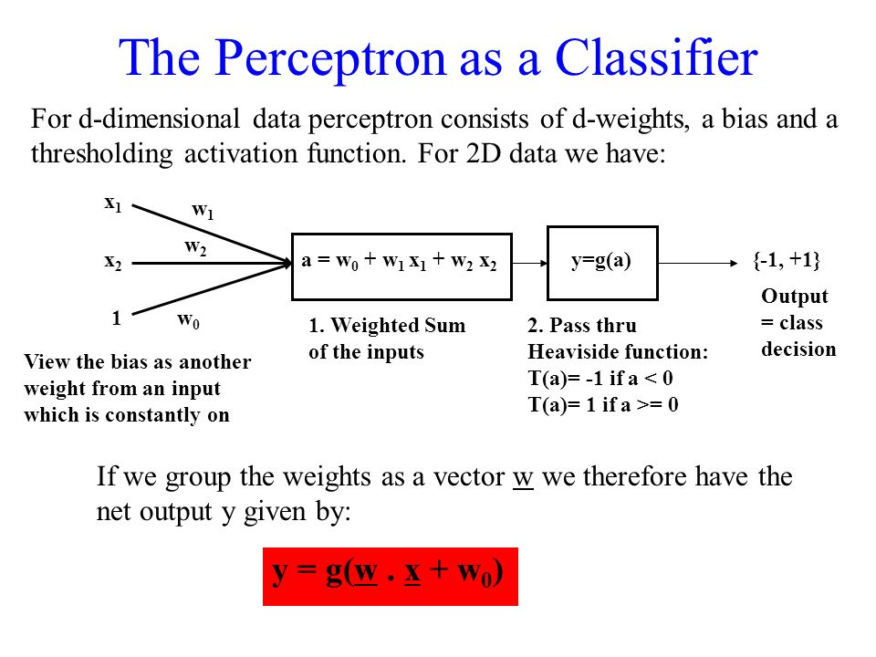 The Perceptron as a Classifier