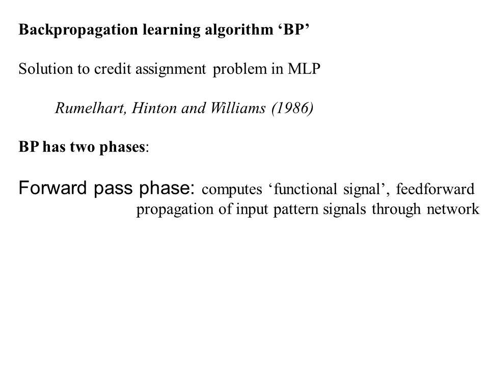 Forward pass phase: computes 'functional signal', feedforward