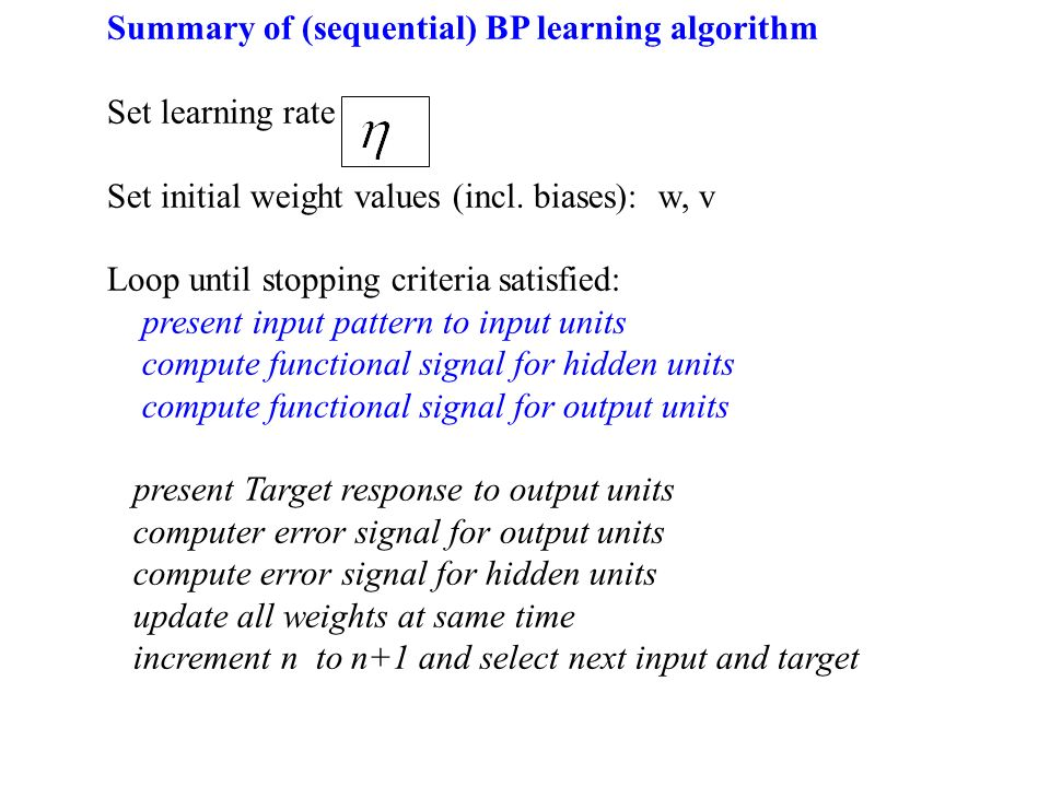 Summary of (sequential) BP learning algorithm