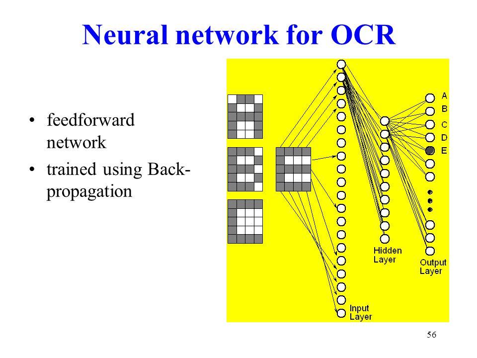 Neural network for OCR feedforward network