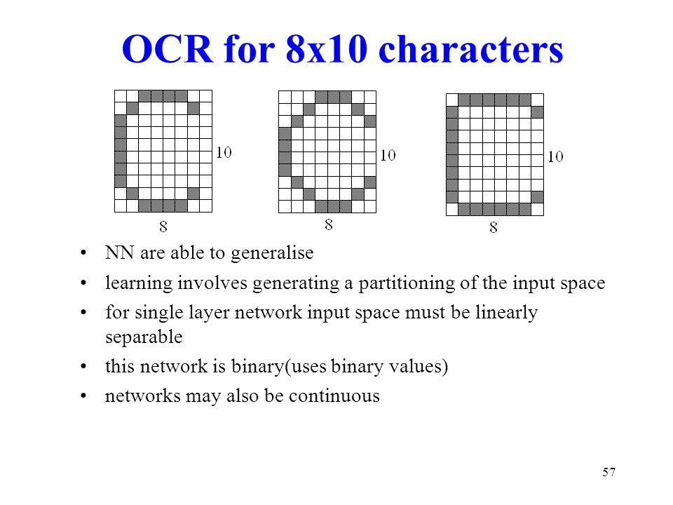 OCR for 8x10 characters NN are able to generalise