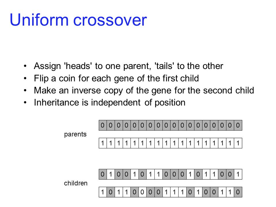 Order 1 crossover Idea is to preserve relative order that elements occur. Informal procedure: 1. Choose an arbitrary part from the first parent.