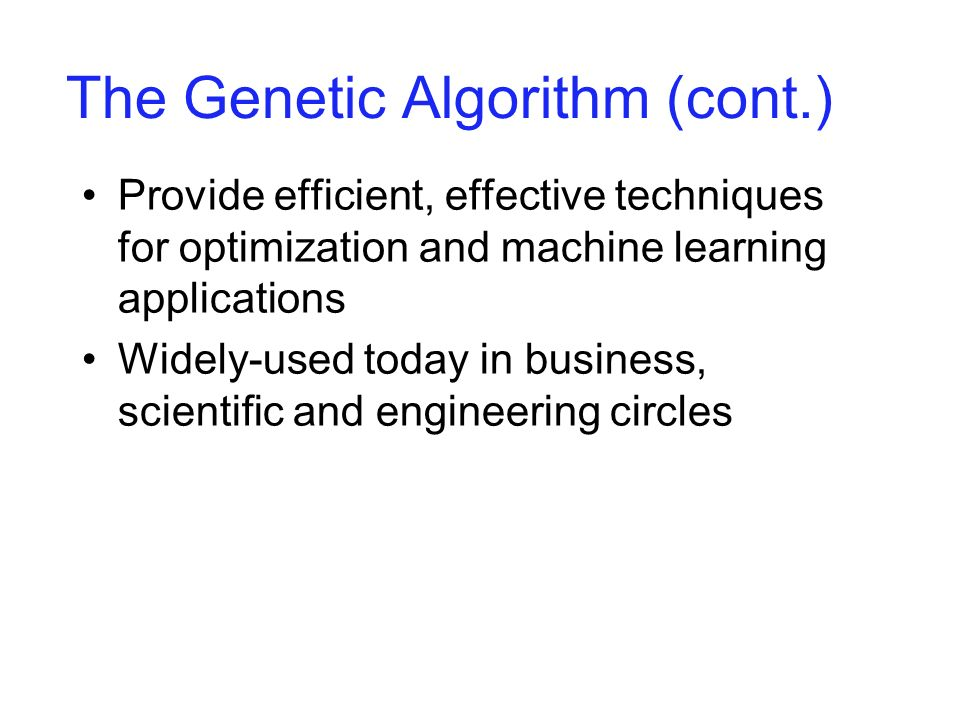 Components of a GA A problem to solve, and ...